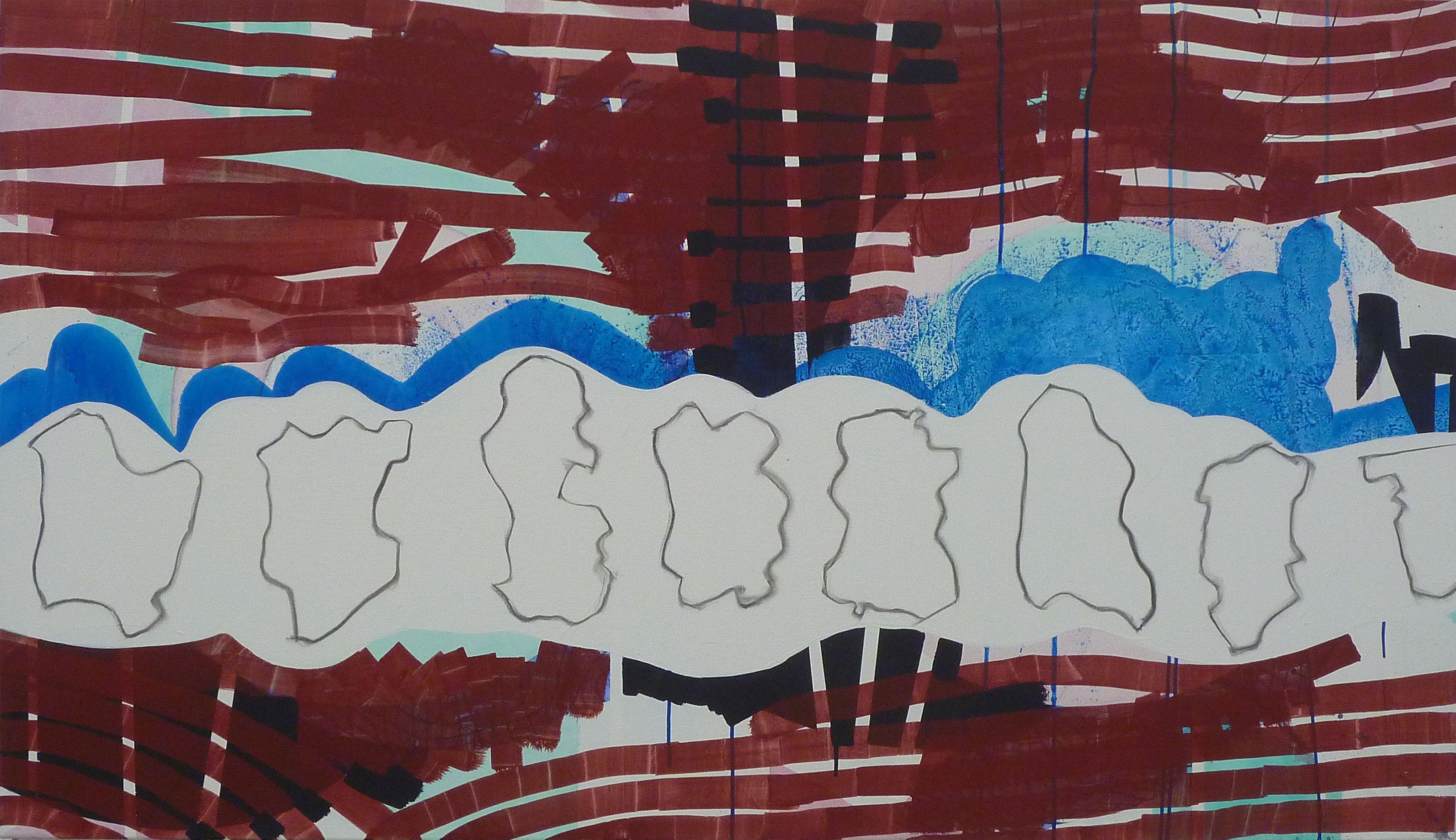 Wayfarers 2012 156cmx90cm Acrylic on gesso
