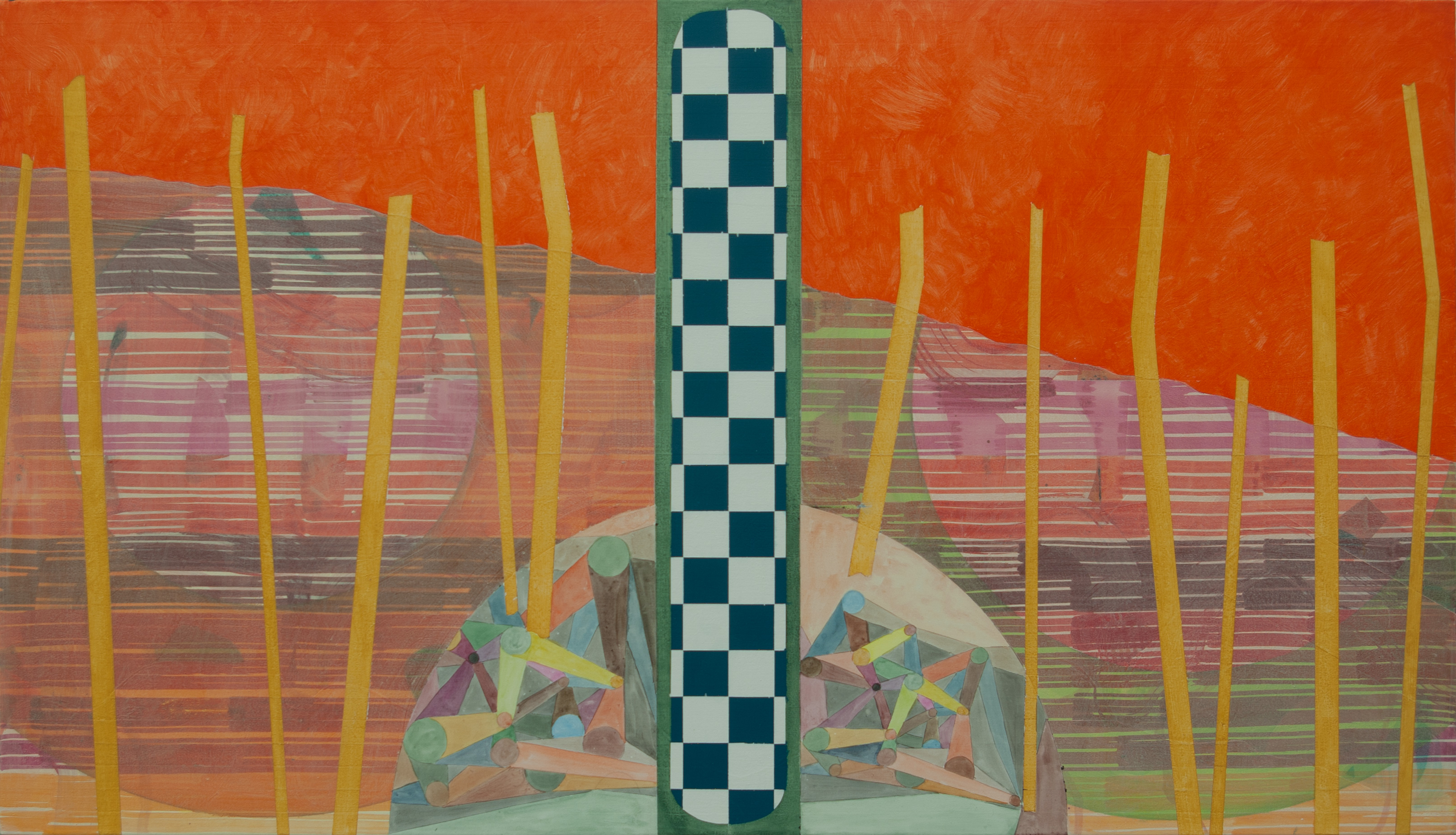 Composition-with-Opened-Mountain (2013) Acrylic on Canvas, 155cm x 89cm