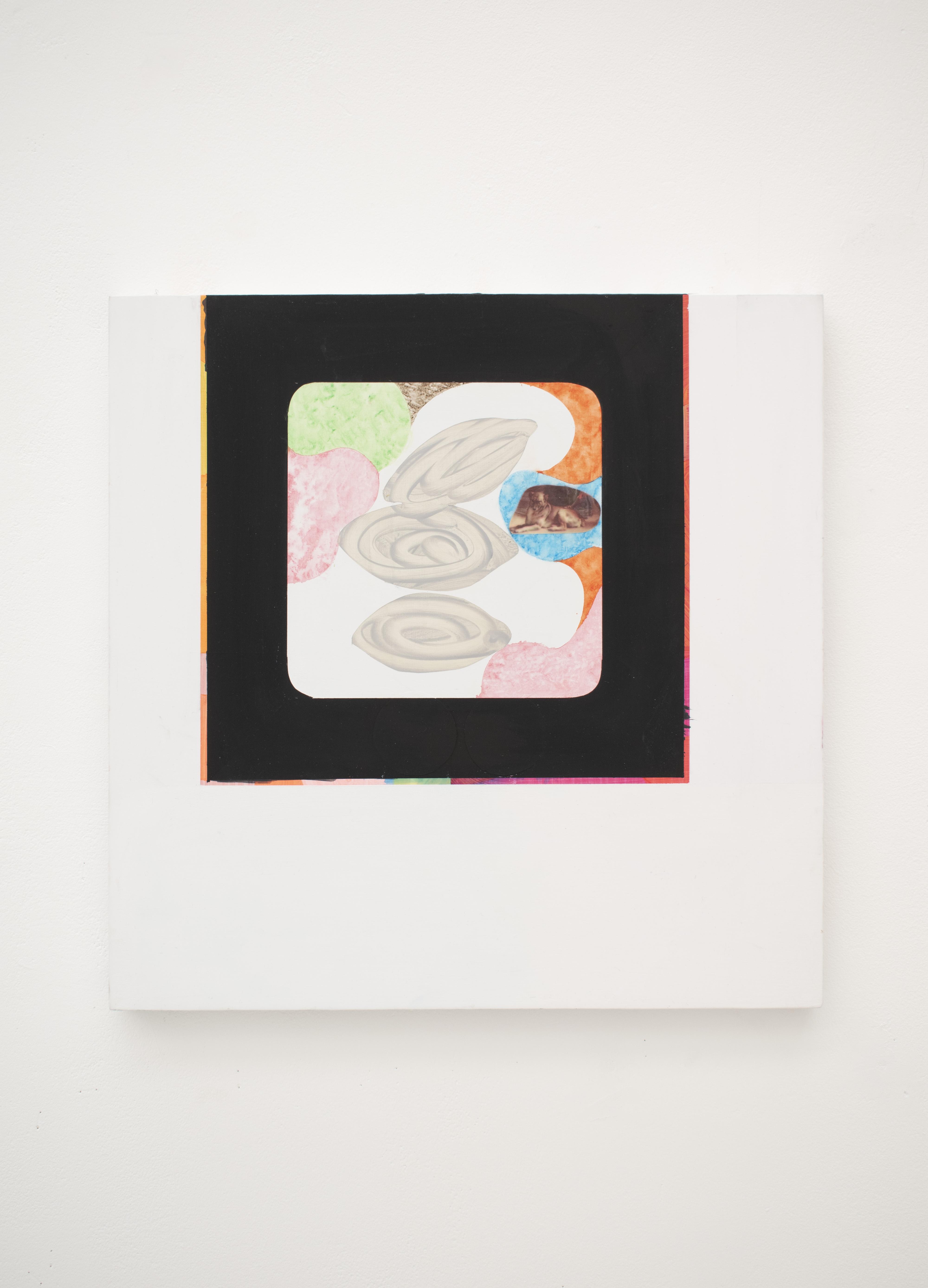 Eye Story 2021 Acrylic and paper on Aluminium, 48cm x 48cm
